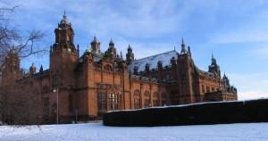 Glasgow art gallery in snow