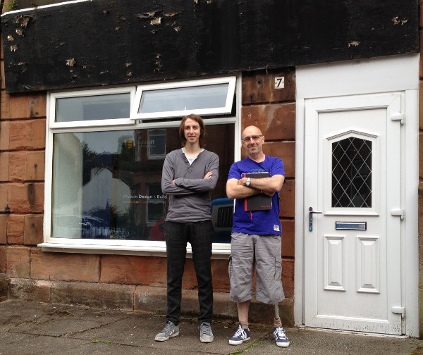 Jim and Martyn outside the new Shawlands office