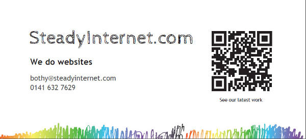 Steady Internet Window Graphic with large QR code