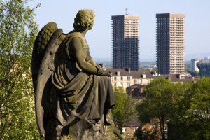 Angel statue overlooking Glasgow from Necropolis