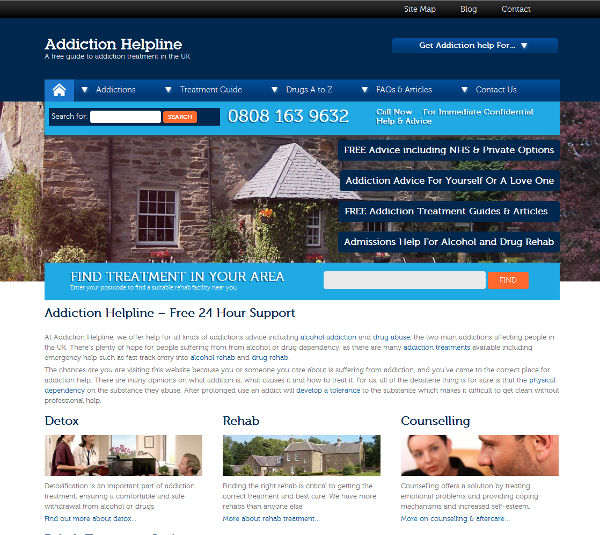 Addiction Website with postcode search